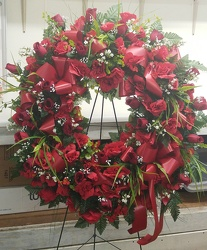 SILK Wreath made Red Flowers 149.95 from Amy's Flowers and Gifts in Dallas, GA