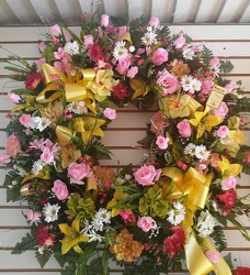 Silk Wreath in Yellow and Pink Flowers 149.95 from Amy's Flowers and Gifts in Dallas, GA